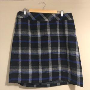 NWOT Talbots Pencil Skirt Wool Plaid Blue Black 16